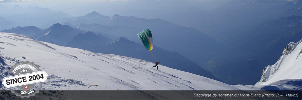 décollage depuis le sommet du mont-blanc